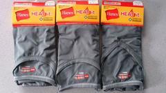 激安67%オフヒートテック、Hanes、発熱、半袖Tシャツ3枚(新品、灰、L)