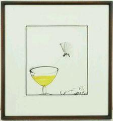 絵画 水彩画 芸術院会員 鶴岡義雄 色紙『ワイングラスと蝶』真作保証