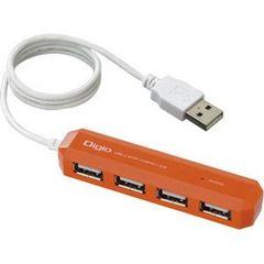☆Digio2 USB2.0 4ポートハブ コンパクト&スリムタイプ オレンジ