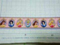 sale22mm巾 ディズニープリンセス柄 リボン(薄紫)1M