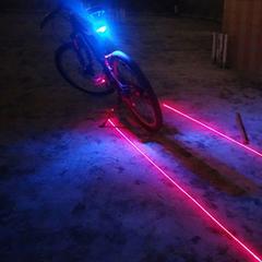 【送料無料】防水 自転車LEDテールライト(5LED+2レーザー)ブルー◆テールランプ