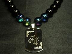 守護梵字ドッグタグ×オニキス×ブルーオーラ数珠ネックレス