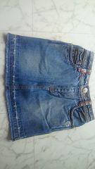 ブルークロス 裾切りっぱなし デニムミニスカート