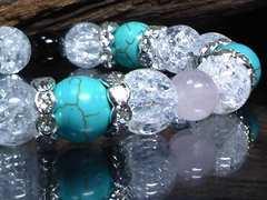 クラック水晶§ターコイズ10ミリ§ローズクォーツ・オニキス数珠