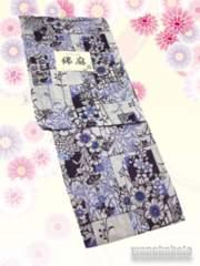 【和の志】女性用綿麻浴衣◇Fサイズ◇生成系・古典柄◇MAF-32