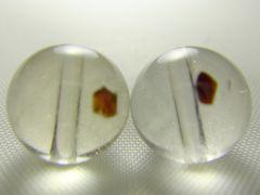 天然石 ガーネットinクォーツ 約8.5�o玉 2個セット P067