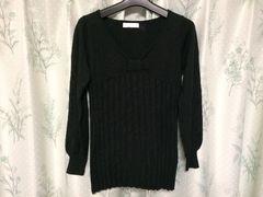 アースミュージック&エコロジー黒ブラックニットセーター長袖