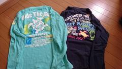 ホヌ柄長Tシャツ150グリーン&ネイビー2枚セット