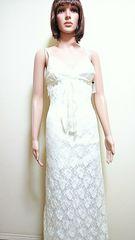 キャバ☆光沢レースチュールが綺麗な白ドレス  D51☆3点で即落