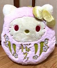 ■感謝祭!!ハロ-キティ*福を呼ぶだるまド-ルBIGタイプぬい*ピンク■