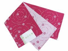 柄半巾帯半幅帯濃ピンク色地小花波紋 浴衣ゆかた&卒業式袴 日本製