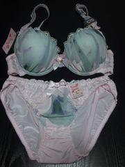 新品 ロマンティック水彩ブラショーツセット(C70・M)ピンク×淡い緑系・ピンクレース
