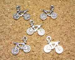 自転車チャーム5個アンティークシルバー