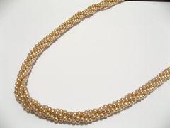 マジョリカ貝パール.ベビー珠ゴールド系4ミリの稀少4連ロング82センチ.ネックレス1品限