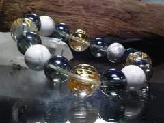 守り本尊十二支梵字水晶§青水晶ハウライト数珠