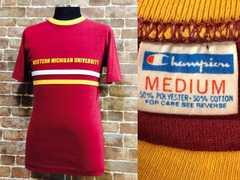 表記M/タイト!70'sビンテージチャンピオンカレッジTシャツUSA製古着バータグ&eトリコ