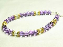 最高級!!紫水晶アメジストXアクアオーラ6ミリ数珠アンクレット