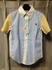 ステュディオダルチザン BD マルチカラー 半袖シャツ XSサイズ 日本製 水色×白 ワーク