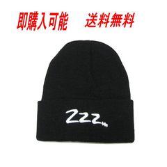 ロゴ ニット 帽 無地 シンプル デザイン 帽子 黒 ・N046