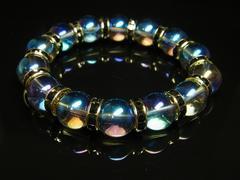 ブルーオーラ12mm数珠ブレスレット 運気アップをもたらす天然石