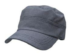 チェック コットン 混 DeGaulle Cap 帽子 グレー M417