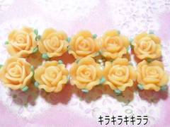 <樹脂粘土>樹脂バラ(薔薇)*デコパーツオレンジ10個セット
