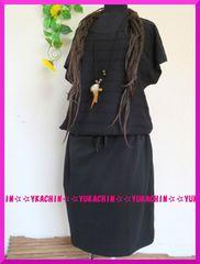 春夏新作◆大きいサイズ3Lブラック◆腰切り替え◆チュニワンピ