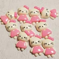 F ☆ 10コ ☆ (薄ピンク) ハート ワンピース リボン キティ ☆ 約3cm ☆ デコパ