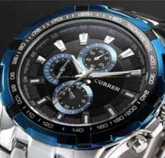 スポーツ クォーツ腕時計ブルー