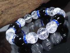 オニキス14ミリ§クラック水晶12ミリ§ブルーロンデル数珠
