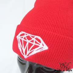 ダイヤモンド 刺繍 ニットキャップ ワッチキャップ 赤 B系 450