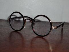 送料無料☆百合の紋章デザインラウンドレンズ伊達眼鏡☆丸メガネ