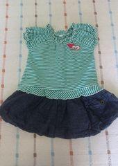 グリーンボーダー半袖シャツ&デニムバルーンスカート♪80�p