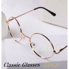 新品☆ゴールド クラシック丸メガネ  伊達眼鏡A027