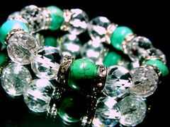 ターコイズ§カット水晶§12ミリ§銀ロンデル