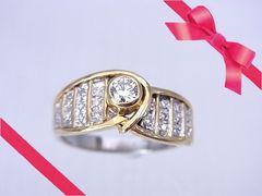 【即買】K18×Pt900  ダイヤモンド 豪華なリング 14.5号 仕上げ済★dot
