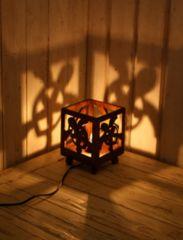 定形外390円ok★ハワイアンチーク材ランプ ホヌ/モンステラ 優しい灯 間接照明
