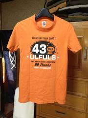 ハリウッドランチマーケット×ウルフルズ 細身プリント半袖Tシャツ XSサイズ0 オレンジ色 ロック