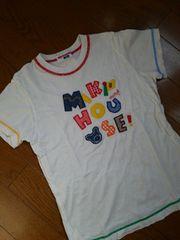 ミキハウス☆120袖口裾カラフルティシャツ