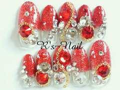 Rオーバル:Redグリッターラメ,チェーン+クリスタルスワロjewelry