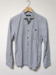 □バーバリー ブラックレーベル ホース刺繍 ストライプシャツ/メンズ・2