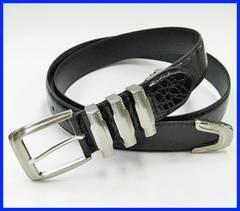 3連バックル クロコ風型押 メンズベルト