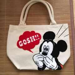 ディズニー・ミッキーマウス柄サガラ刺繍トートバッグ。ホワイト
