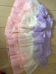 パステルピンク紫白3段キュロットスカート☆ミニ