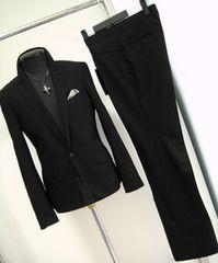 355■新品L トルネードマートセットアップスーツ黒シルク混
