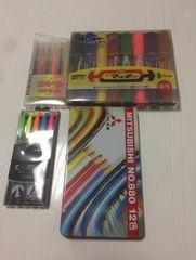 マッキー・蛍光ペン2種・色えんぴつ