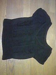 ニット/セーター/半袖/XSサイズ/黒/編み編み生地