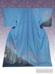 【和の志】洗える着物◇袷・付下げ◇ブルー系・椿柄◇KTK-116