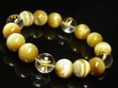 成功を収める数珠 梵字 本水晶 ゴールト ゙タイガーアイ ブレスレット 12ミリ