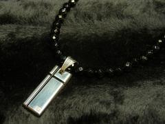 オーダーメイド可!!ブラッククロスプレート×ダイヤカットオニキス数珠ネックレス